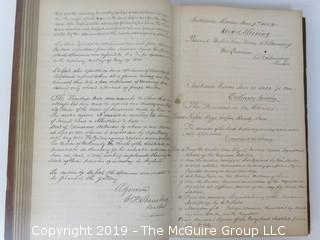 """National Institute For The Promotion of Science; 1840""; leather bound ledger. This is an important historical, scientific and cultural artifact.  Every page and piece of paper has been photographed. The National Institute was the initial repository for collections of artifacts brought to the U.S. by the United States Exploring Expedition of 1838, as well as various other objects accumulated by the government, such as items owned by early American politicians, patent models, and natural objects.  There is an entry on page 25 that records the transfer of a desk used by George Washington to the Institute, as Directed by the President of the United States, with a signature of Z. Taylor.  The signature has not been authenticated, but it does appear to be in a hand other than the recording secretary. Such artifacts were the precursor to the Smithsonian Institution collection. (142 photos) {Description Altered: Feb. 18; 7:42pm ET; 2019}"