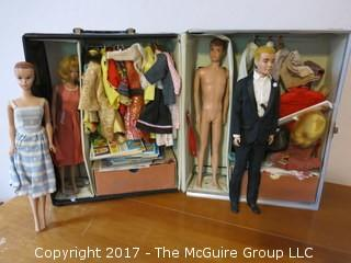 1962 Barbie and Ken doll case; dolls and full contents; by Mattel. {This Lot was updated on May 27th, with nearly 100 photos of all the contents}
