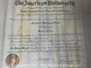 "1928 Oilskin Masters Degree Awarded to Margaret T. Olcott by American University {Description Altered Feb. 16, 5""44pm ET}"
