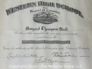 1912 Western High School of the District of Columbia Degree Awarded Margaret T. Olcott