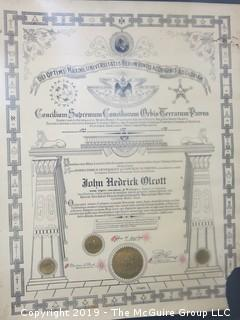John Hedrick Olcott Masonic Certificate {Description Altered Feb 16 @ 5:46pm}