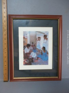 Framed print of family gathering at home