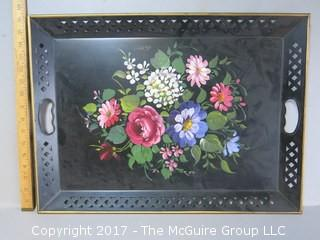 Toleware tray with handpainted floral bouquet