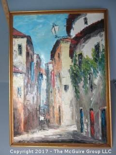 Framed European streetscape; oil on canvas; 16 x 20""