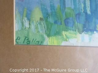Framed watercolor landscape; signed lower left