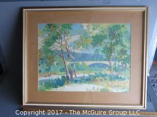 Framed watercolor landscape; signed lower left