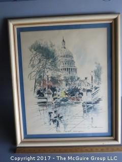 Framed print of the U.S. Capitol; 18 x 24""