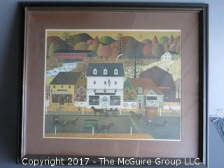 """Framed streetscape, American Gothic style; 16 x 18"""""""