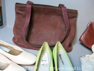 (3) Handbags including Coach and 2 pair of ladies new shoes; size 8 1/2