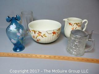 "Collection of Ceramic and Glass Servingware, including ""Hall"" bowl and pitcher"