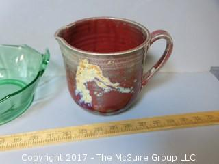 Collection of Colored Glass and signed pottery pitcher