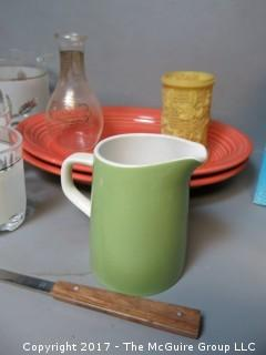 Mid-Century collection including bar shaker, utensils,cocktail glasses, ice bucket and Fiesta plates.