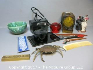 "Collection including ""Next Week"" paperweight, brass crab, keepsake box, Mid-Century Coasters, and letter openers"