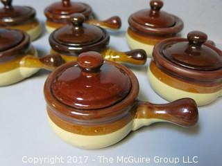 Collection of (8) covered bean pots
