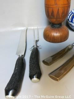 Collection including set of (6) steak knives; (2) carving sets, wooden vessel and ceramic candleholder