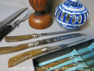Collection including set of (6) steak knives; (2) carving sets, wooden vessel and ceramic candleholder