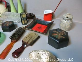 Collection including mid-century hair brushes, keepsake boxes, carving set, LANG lamp, salt and pepper set and assorted glassware