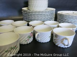 (46) pieces of French Haviland Limoges China: 11 dinner plates, 11 salad plates, 12 cups and saucers
