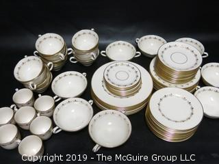 "(87) pieces of Lenox ""Romance"" Pattern China: (12) dinner plates, (7) salad plates, (8) 7"" diameter plates, (12) 6 1/4"" diameter plates, (12) saucers, (7) demitassecups /(8) saucers, (13) coffee cups/ (12) saucers, (8) soup bowls"