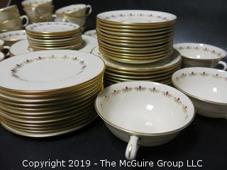 """(87) pieces of Lenox """"Romance"""" Pattern China: (12) dinner plates, (7) salad plates, (8) 7"""" diameter plates, (12) 6 1/4"""" diameter plates, (12) saucers, (7) demitassecups /(8) saucers, (13) coffee cups/ (12) saucers, (8) soup bowls"""
