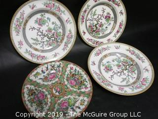 Collection of Minton Plates (4 of 7 have chips) and 1 Chinese Hand Painted Decorative Plate