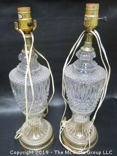 Pair of Cut Crystal Table Lamps (Note: 1 has broken glass - see photo)