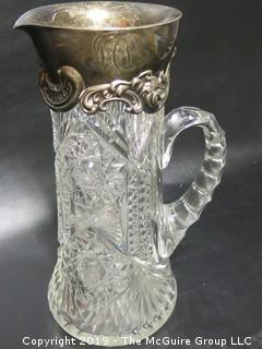 Cut Crystal Clear Pitcher with Monogrammed Sterling Top