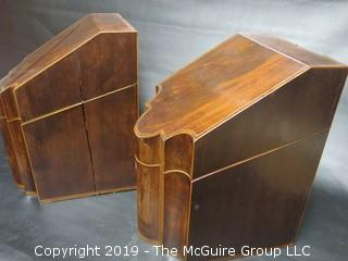 Pair of 18th C. American Inlaid Mahogany Knife Boxes w/ Inserts (Note: Age split on side of one)