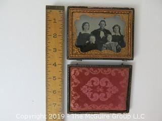 Quarter-plate Ambrotype photograph of family in traditional case (Description altered: March 25, 2:04pm)