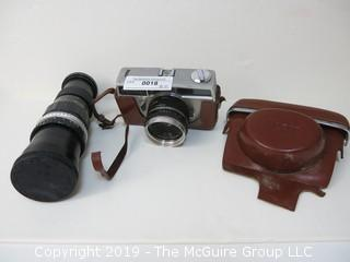 Anscomark Vintage Camera with 50mm, f.2.8 lens; leather case and additional 300mm,1:5.5 Teleoptic Continar lens