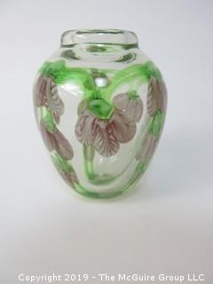 "Hand Blown, Hand Painted Floral Art Glass; 6 1/2"" tall"