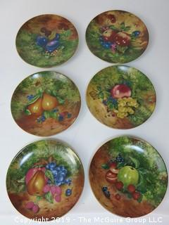 "Set of (6) Limoges Hand Painted Fruit Wall Plates. 7 3/8"" diameter"