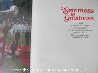 "Book Title: ""Summons to Greatness"", published by friends of President Nixon; 1972"