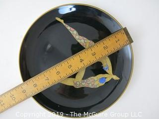 """Japanese Fine Bone China; Hand Painted; by Erte; 8 3/4"""" diameter"""