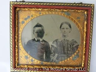 Sixth-plate Ambrotype photograph of siblings in traditional case;  (Description altered: March 25, 2:04pm)