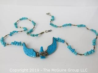 "Sterling and turquoise ladies necklace; marked ""W"""