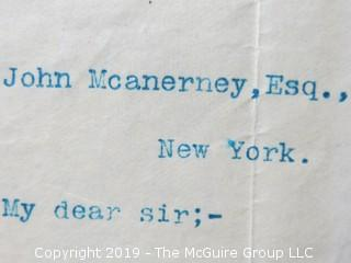 "Personal Letter Signed by President Grover Cleveland to Col. John McAnerney, Esq., NY, NY (referred to as the ""Savior of Richmond""); Oct. 8, 1892"