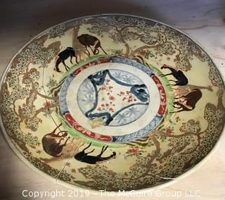 "16"" diameter Asian Ceramic Platter Shards (as found).  Note the  inventory sticker near the center."