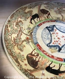 "16"" diameter Asian Ceramic Platter Shards (as found).  Note the  inventory sticker near the center."