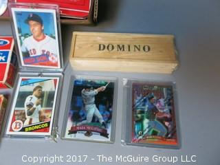 "Collection including Dominoes, poker chips, sports cards and ""Little Rascals"" film"