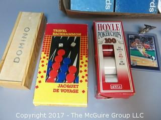 """Collection including Dominoes, poker chips, sports cards and """"Little Rascals"""" film"""