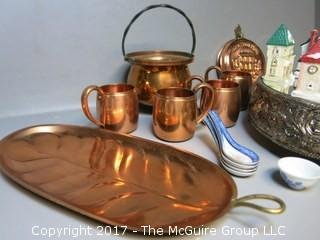 Collection including copperware, mirrored silverplate and holiday decorations