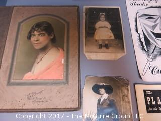 Collection including early photographs, playbills, M-C advertising, and pocket calculator