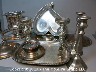 Collection of silverplate and pewter