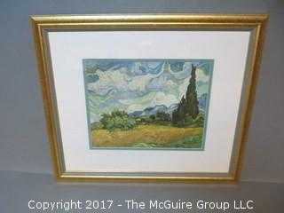 (5) framed art photos, matted under glass