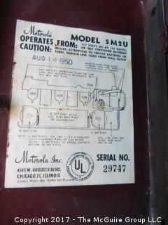 1950 Motorola Tube Model 5M2U Electric/Battery Radio, serial # 29747