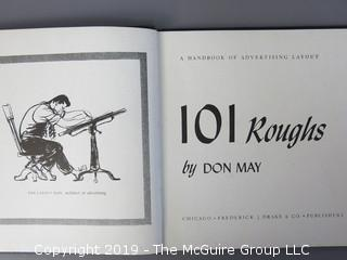 "Book Title: ""101 Roughs - A Handbook of Advertising Layout""; by Don May; published by Frederick J. Drake and Co.; 1942"