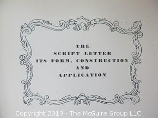 "Book Title: ""The Script Letter: Its Form, Construction and Application"";  author Tommy Thompson; 1947; published by The Studio Ltd., London  WILL SHIP"
