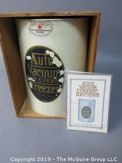 Auto Vacuum Ice Cream Freezer; with instruction book and recipe pamphlet; in original wooden stenciled box