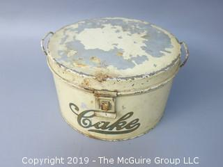 Vintage Cake Tin Carrier; with hinged lid; marked Kraemer